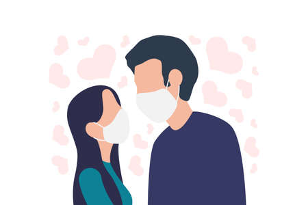 Man and Woman in medical masks looking at each other. Protection against viral infections and COVID-19. Couple wearing face masks. Flat style vector illustration isolated on white background