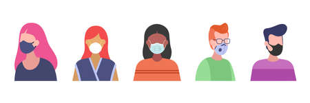 Face mask types set. People wearing medical mask to prevent virus disease. Set of flat style characters isolated on white background. Good for web, store and infographic Illustration