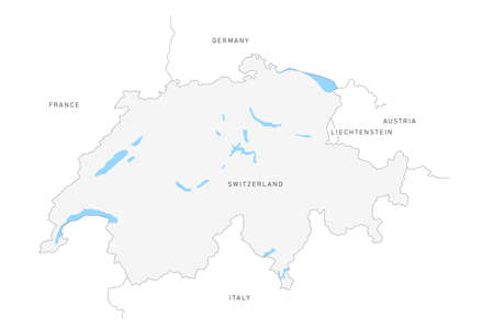 Switzerland map isolated on white background. Vector thin line border map with neighboring countries Illustration