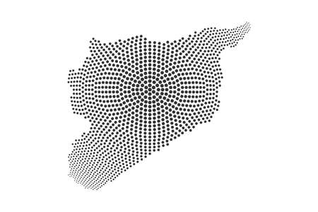 Pixel map of Syria. Vector dotted map of Syria isolated on white background. Syria map page symbol