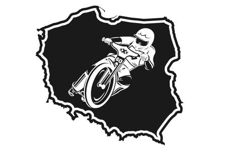 Motorcycle Speedway of Poland. Concept of popular motor racing championchip in Poland. Vector ilustartion isolated on white background