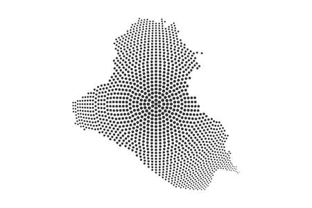 Dotted Iraq Map. Abstract vector Composition of Iraq Map composed of round dots. Vector geographic map isolated on white background Illustration