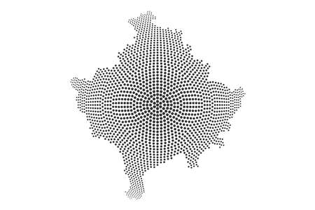 Dotted Kosovo Map. Abstract vector Composition of Kosovo Map composed of round dots. Vector geographic map isolated on white background