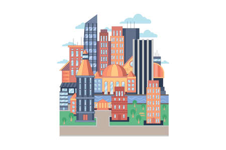 City vector geometric flat style illustration. City street or block. Colorful pattern of town with river, buildings, roads and skyscrapers. Vector illustration isolated on white background Illustration