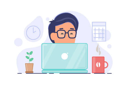 Freelncer concept composition. Remote worker vector illustration. Man in glasses working on compoter with cup of coffee and home plant on the table. Vector illustration isolated on white