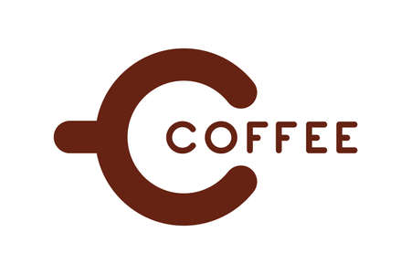 Coffee icon concept. C letter in a cup form. Coffee inscription. Vector illustration isolated on white background Illustration