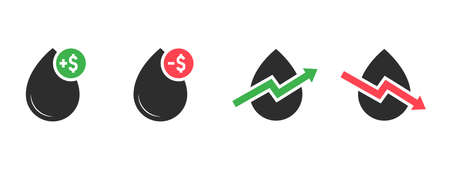 Oil drop icon set. Oil prices rising and falling composition. Black flat style icons with green and red price notifications and chart line. Set of vector icons isolated on white background Illustration