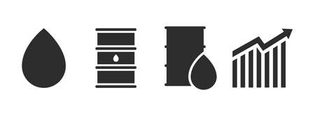 Oil icon set. Oil drop, barrel and chart flat style illustration isolated on white background Illustration