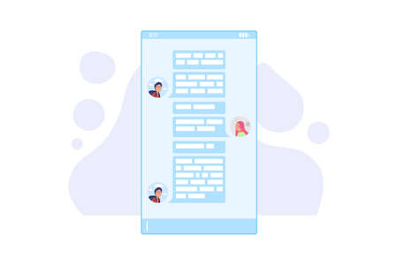UI chat vector illustration. Social network messenger abstract flat illustration. Sending a message or telegram in a group chat, other person. Vector illustration isolated on white background