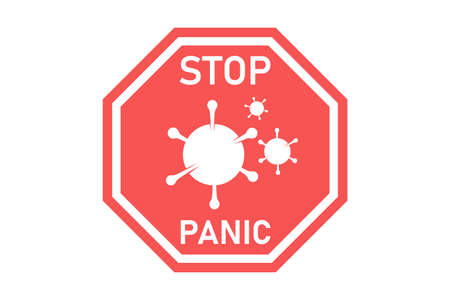 Stop virus panic. Red warning sign with virus molecula isolated on white background