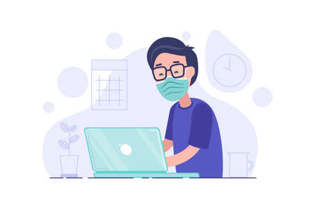Man in medical mask working on his laptop. Office worker works on quarantine at home to avoid disease. Freelancer or remote worker concept. Vector illustration isolated on white background