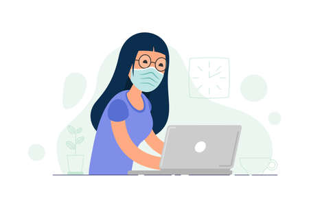 Girl in medical mask works on her laptop. Office worker works on quarantine at home to avoid disease. Freelancer or remote worker concept. Vector illustration isolated on white background