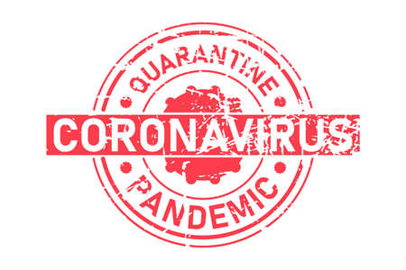 Coronavirus stamp vector inscription. Red vector round grunge stamp imprint with Coronavirus text. Quarantine and pandemic text. Vector illustration isolated on white background. Illustration