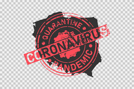 Coronavirus stamp on Poland map. Concept of quarantine, isolation and pandemic of the virus in country. Grunge style texture stamp over black polish map. Vector illustration