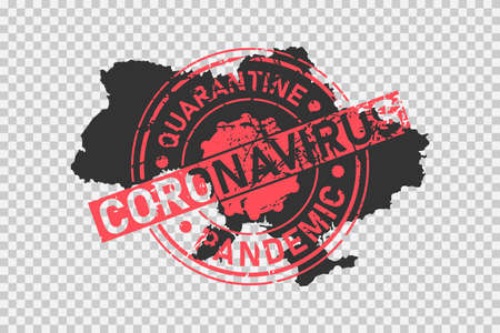 Coronavirus stamp on Ukraine map. Concept of quarantine, isolation and pandemic of the virus in country. Grunge style texture stamp over black ukrainian map. Vector illustration