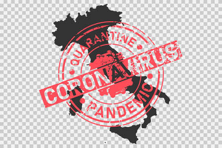 Coronavirus stamp on Italy map. Concept of quarantine, isolation and pandemic of the virus in country. Grunge style texture stamp over black italian map. Vector illustration Illustration