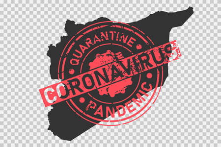 Coronavirus stamp on Syria map. Concept of quarantine, isolation and pandemic of the virus in country. Grunge style texture stamp over black syrian map. Vector illustration