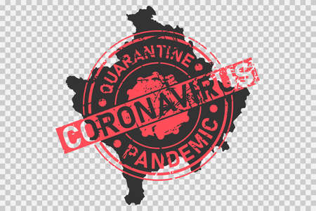 Coronavirus stamp on Kosovo map. Concept of quarantine, isolation and pandemic of the virus in country. Grunge style texture stamp over black kosovo map. Vector illustration