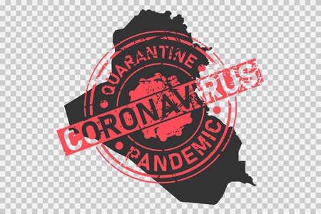 Coronavirus stamp on Iraq map. Concept of quarantine, isolation and pandemic of the virus in country. Grunge style texture stamp over black iraqi map. Vector illustration