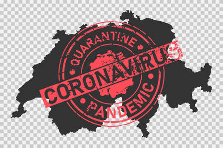 Coronavirus stamp on Switzerland map. Concept of quarantine, isolation and pandemic of the virus in country. Grunge style texture stamp over black swiss map. Vector illustration