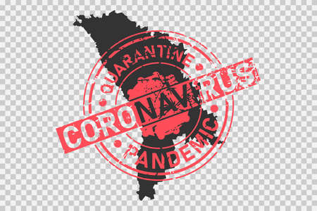 Coronavirus stamp on Moldova map. Concept of quarantine, isolation and pandemic of the virus in country. Grunge style texture stamp over black moldovan map. Vector illustration Illustration