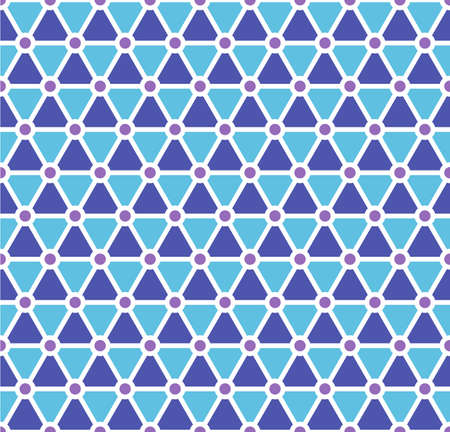 Retro seamless pattern. Geometric shapes. Colorful mosaic backdrop. Blue and purple triangles and rounds. Vector illustration isolated on white background