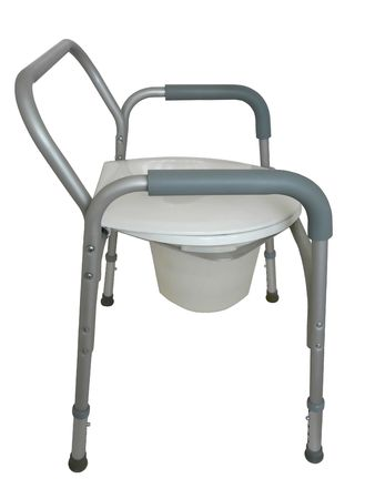 Bedside commode to be used as a raised toilet seat over a traditional toilet, a commode outside the bathroom, or a shower chair. White background.