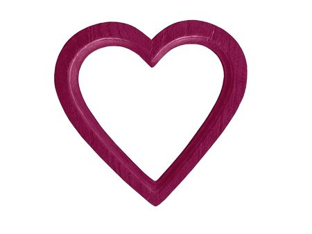 Magenta wooden heart-shaped frame for photo or artwork. White background. Banco de Imagens