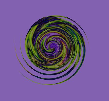 Multi-colored abstract spiral with some blur, on purple background. Space for text. Computer-generated from a photo.