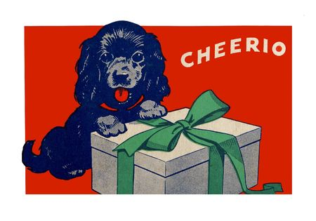 Vintage Christmas scene, probably from the 1940s, features a black dog and a package with a green bow. Red background and white frame. Stock Photo - 7944126