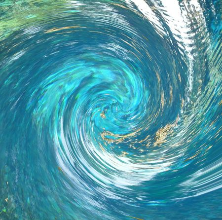 curl whirlpool: A hurricane-like abstract that suggests debris being pulled into the vortex. Partial blur indicates speed. Rendered from a photo of a natural spring.