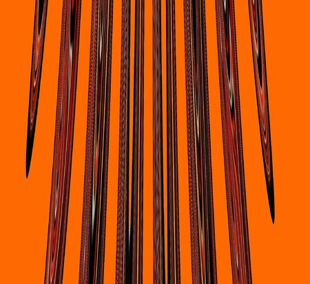 Textured black and orange stakes on orange background. Abstract was computer-generated from a photo.