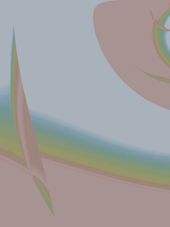 Pink, yellow, blue, and green bands and abstract shapes on pale blue background. Computer-generated from a photo.