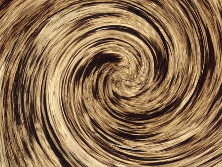 Nature-themed spiral abstract with blur and variations in the color brown. Computer-generated from a photo of a river bottom. Banco de Imagens