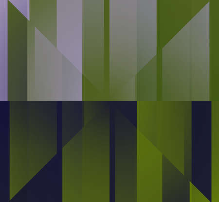 Computer-generated green and purple shades form a geometric kaleidoscope frame background.