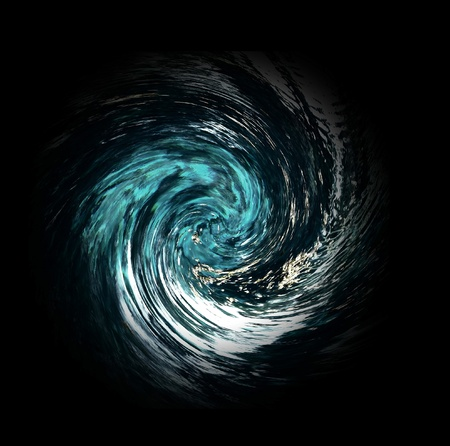 Hurricane or tornado abstract suggests debris pulled into the vortex. Blur indicates speed. Rendered from a natural spring photo. Black background. photo