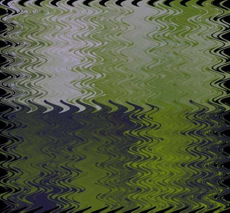 rippled: Computer-generated shades of green and purple with white form a rippled background with a black edge, resembling stained glass.