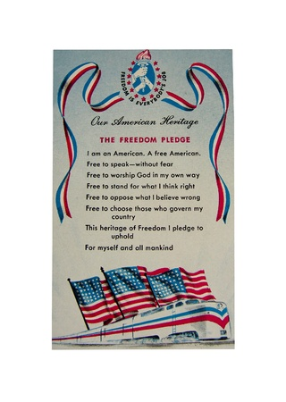 This Freedom Pledge postcard is one of the 1948 Official Freedom Train Postcards by the American Heritage Foundation