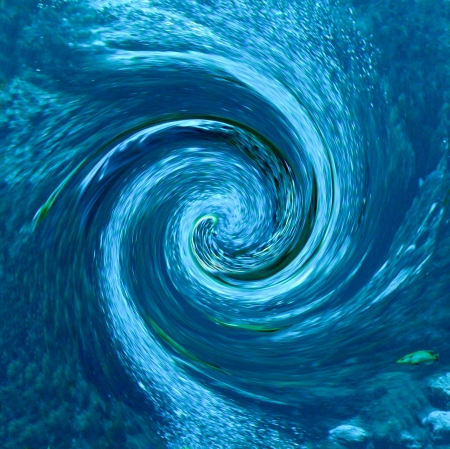 A hurricane or tornado-like abstract with debris being pulled into the vortex  Partial blur indicates speed  Rendered from a natural spring with fish