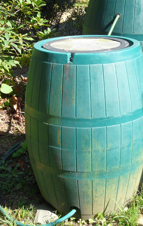 Two green plastic rain barrels are connected to capture and store more rain water  When one barrel is full, surplus will flow into the second  Stock Photo