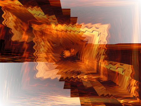 Abstract computer-generated from a fiery sunset photo, providing varied shapes and light, with some blur