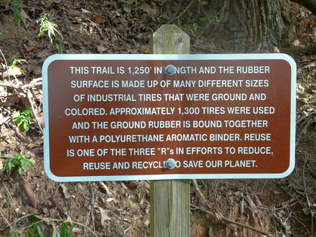 Sign in Amicalola Falls State Park, Georgia, regarding the trail composed of ground rubber tires  The comfortable walking surface is easier on the joi Editorial