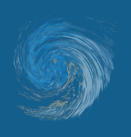 debris: Hurricane or tornado abstract that suggests debris being pulled into the counter-clockwise vortex. Blur shows speed. From a photo of a natural spring. Stock Photo