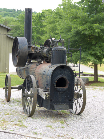 logging railways: Portable Frick steam engine, once used in logging operations, sits at the Little River Railroad and Lumber Company Museum in Townsend, Tennessee.