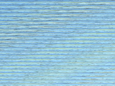 yellow banded: Blue and green horizontal lines create an abstract of waves in the water. Rendered from a photograph of a lake with lily pads.