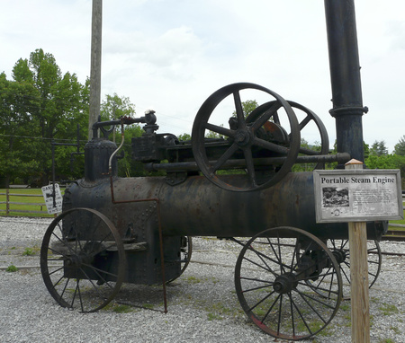 logging railroads: Portable Frick steam engine, once used in logging operations, sits at the Little River Railroad and Lumber Company Museum in Townsend, Tennessee.