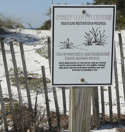 A fence and sign warn visitors to stay off the dunes due to beach dune restoration in progress at Camp Helen State Park, Panama City, Florida.