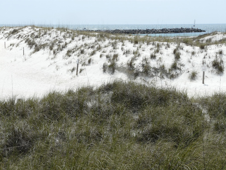 Sand dunes, a jetty, and sailboats on the Gulf of Mexico create this scene at St. Andrews State Park, Panama City, Florida.