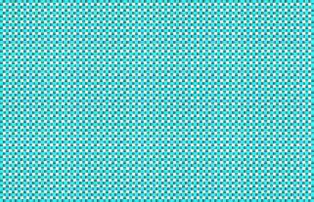 Repeated braiding of horizontal and vertical stripes creates a 3-D basket weave pattern in aqua on white background.