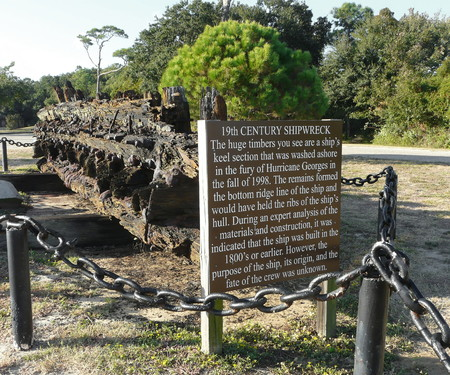 fort dauphin: 19th century shipwreck remains are displayed outside the grounds of Fort Gaines on Dauphin Island, Alabama. They washed ashore in Hurricane Georges.